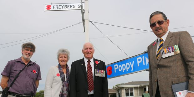 From left, war historian Neil Frances, Masterton mayor Lyn Patterson, Masterton RSA president Bob Hill, and New Zealand Poppy Places trustee Joseph Bolton. PHOTO/HAYLEY GASTMEIER