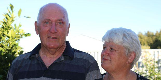 Melanoma survivor and Masterton Returned Services Association president Bob 'Bukit' Hill with his wife Catherine. PHOTO/HAYLEY GASTMEIER