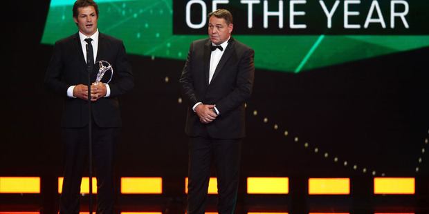 All Blacks Captain Richie McCaw speaks on stage with Steve Hansen. Photo / Getty Images.