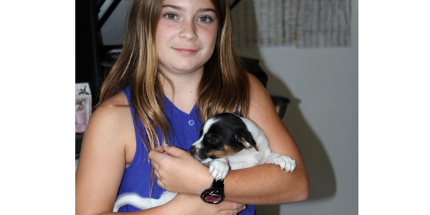 WELL DONE: Cassidy Foster with the money she raised for the SPCA, and a new friend (that she wasn't allowed to take home).