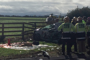 Emergency services arrive at the scene of the fatal crash. Photo / Supplied