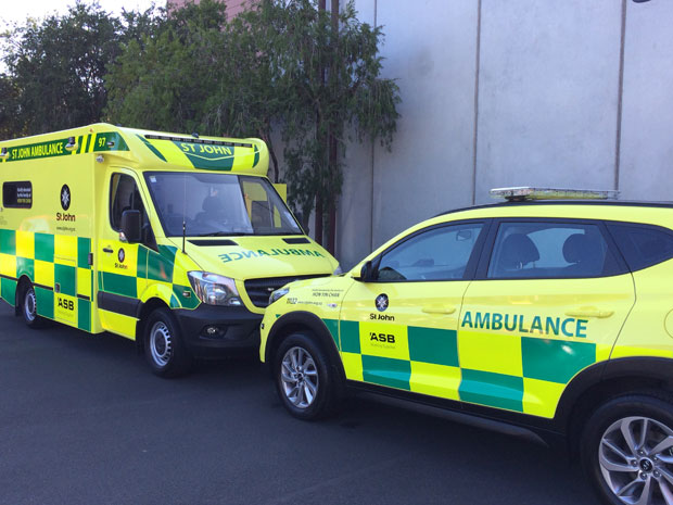 The ambulance and rapid response vehicle donated to St John by Auckland man George Chan.