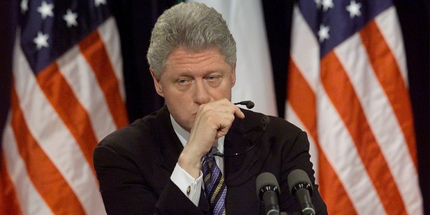 Former US President Bill Clinton pauses a moment while being asked about former White House intern Monica Lewinsky. Photo / Getty Images