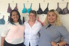 FITTED: Pictured from left, friend Barbara Williams, Rose and Thorn lingerie company owner, Sue Dunmore, and Memoirs of a Maori comedy Facebook page and bra ranter, Charde Heremaia. Photo/ Supplied.