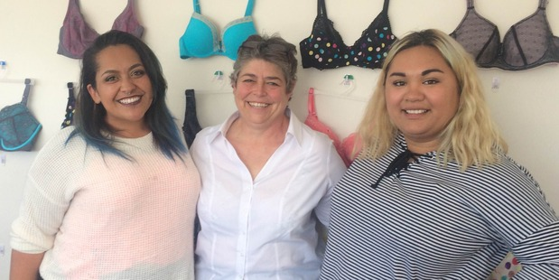 Loading FITTED: Pictured from left, friend Barbara Williams, Rose and Thorn lingerie company owner, Sue Dunmore, and Memoirs of a Maori comedy Facebook page and bra ranter, Charde Heremaia. Photo/ Supplied.