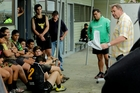 Steve Hansen captures his audience at a grassroots level at Wairoa College on Wednesday last week - a far cry from the Laureus platform in Berlin. Photo / Warren Buckland