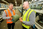 Cavalier Bremworth CEO Paul Alston (left) with Napier Spinning Mill manager John Williams. Photo / Warren Buckland