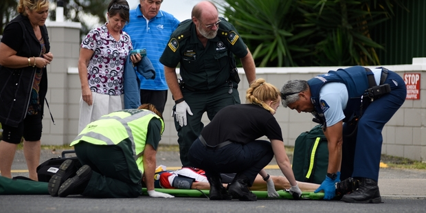 NEW SITE: The scene where a cyclist and car collided yesterday afternoon outside the Omanu Golf Club on Matapihi Rd.PHOTO/GEORGE NOVAK