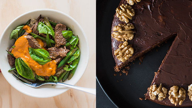 For Monday night's dinner: Beef stir-fry and a delicious walnut & almond cake for afternoon tea. Photos / Bite magazine