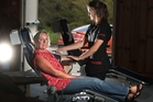 Fiona Dugdale gives blood for the 100th time, helped by donor technician Tracey Miller. Photo / Ben Fraser