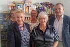 DETERMINED: Annette King (front left) with Hazel Robinson during the visit to the Hawera Foodbank. Behind them are MPs Ruth Dyson and Trevor Mallard.PHOTO/SUPPLIED