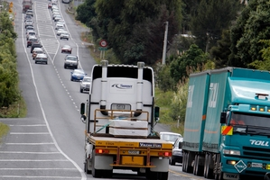 Roadworks on SH1, just south of Portland Rd, caused major traffic delays in Whangarei yesterday. Photo / John