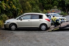 A stolen car was dumped in the Whangarei Quarry Gardens carpark yesterday. Photo / John Stone