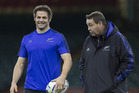 Former All Blacks skipper Richie McCaw and head coach Steve Hansen. Photo / Brett Phibbs