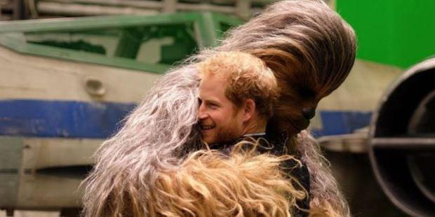 Prince Harry snuggles in for a wookie hug. Photo / Instagram, Kensingtonroyal
