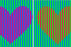 If you zoom in on the picture you find that the striped bars aren't actually the same colour. Photo / YouTube, Bite Size Psych