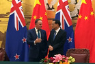 New Zealand Prime Minister John Key meets Chinese Premier Li Keqiang in Great Hall of the People, Beijing. Photo / Barry Soper