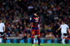 Barcelona's Lionel Messi looks dejected following teammate Ivan Rakitic's own goal put Valencia into the lead. Photo / Getty Images