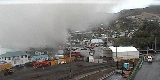 The burning fishing ship was berthed at the No7 wharf. Photo / Lyttelton Port of Christchurch