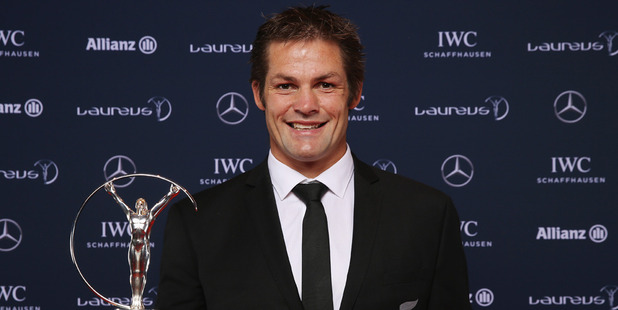 Loading Former All Blacks captain Richie McCaw poses with the Laureus World Team of the Year trophy. Photo / AP