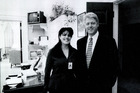 A photograph showing former White House intern Monica Lewinsky meeting President Bill Clinton at a White House function. Photo / Getty Images