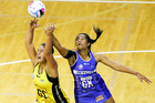 Maia Wilson of the Pulse and Temalisi Fakahokotau of the Mystics compete for the ball during. Photo / Getty Images