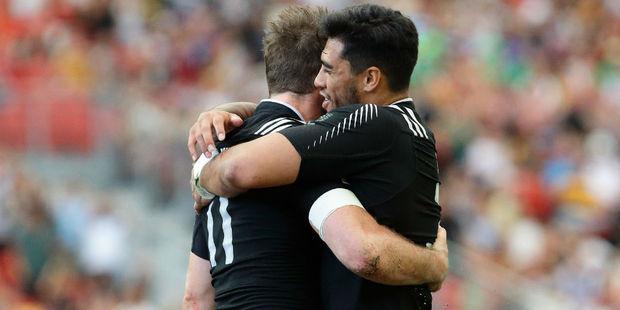 The All Blacks Sevens celebrate scoring. Photo / Getty