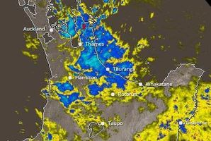 The band of heavy rain at 7pm yesterday. Image/Metservice