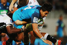 Rieko Ioane of the Blues charges forward during his side's win over the Sharks. Photo / Getty