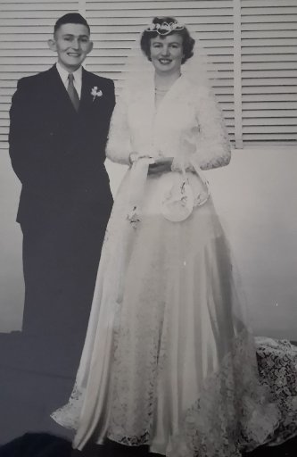 Robin and Margaret (nee Berg) Larsen, married on April 21, 1956 by Canon Gardiner at St John's Anglican Church Dannevirke.