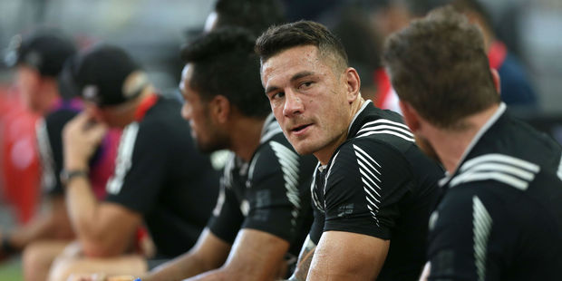Sonny Bill Williams looks on from the bench for the All Blacks Sevens. Photo / Getty
