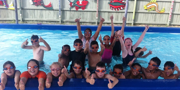 Children at Glenholme Primary School give the thumbs up to swimming. Photo/supplied