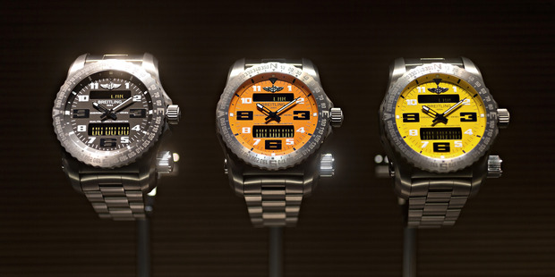 Three 'Emergency Chronograph' luxury wristwatches, produced by Breitling. Photo / Bloomberg - Michele Limina