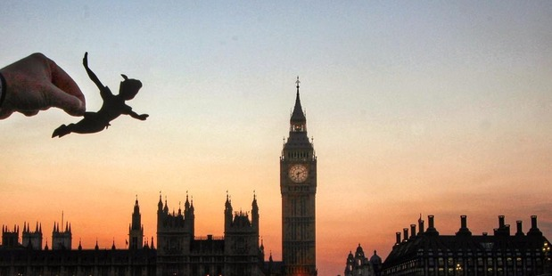 One of the images shows Peter Pan flying over London. Photo / Rich McCoy