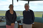 210416PBTower1 Lynn Annear, Peter Warnock and the Whanganui Airport Control Tower Restoration Group want to save the control tower. PICTURE / PAUL BROOKS