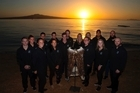 New Zealand Rio Olympic athletes with the Kakahu at the 100 days to Rio Olympics Ceremony held at Cheltenham Beach, Devonport, Auckland.      27  April  2016    New Zealand Herald photograph by Brett Phibbs