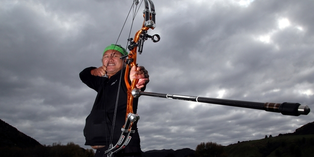 "Loading LETHAL WEAPON: Roy ""Ewok"" Davey hopes to bag a stag with his high-tech bow. PHOTOS/ STUART MUNRO"