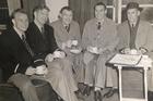 Sydney bound in 1952. From left: R.J. McKay, H. Kreyl, J.S. Haig, A. Atkinson, W.A. McKenzie.