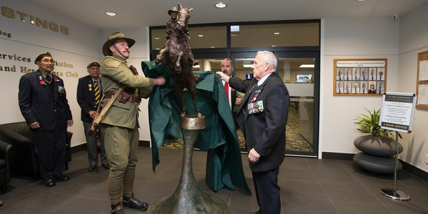 The bronze statue created by Army Gunner Matt Gauldie was unveiled by Sergeant Shaun Maloney and Clubs Hastings President Trevor Hardie. Photo / Willy Ransfield