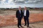 John Key and Nick Smith were at the handover of the Hobsonville block. Photo / Brett Phibbs