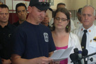 Steven Mittendorff, husband of missing paramedic-firefighter Nicole Mittendorff, at a press conference with Nicole's sister Jennifer Clardy Chalmers. Photo / AP