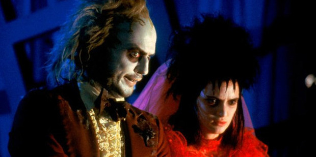 Michael Keaton and Winona Ryder in a scene from Tim Burton's 1988 film Beetlejuice.