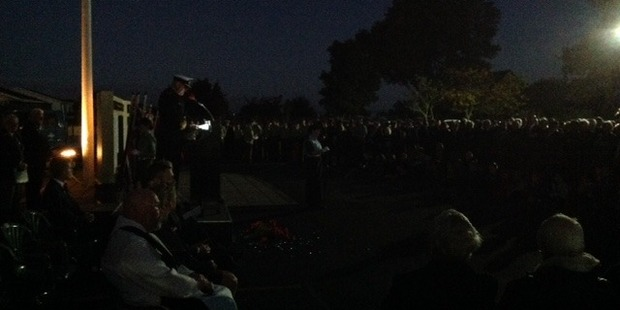 Soldiers old and young gather in the dark at Tauranga RSA for this morning's dawn service. Photo/Andrew Warner