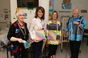 GOOD CAUSE: (left to right) Pat Caves, Cheryl MacDonald, Jill O'Sullivan and Jill Gregory with the drain bags. PHOTO: SUPPLIED