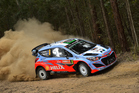 Hayden Paddon during Day One of the WRC Australia 2015. Photo / Getty Images