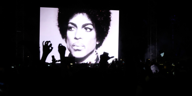 A Prince tribute takes place during the Jack U performance. Photo / Getty Images