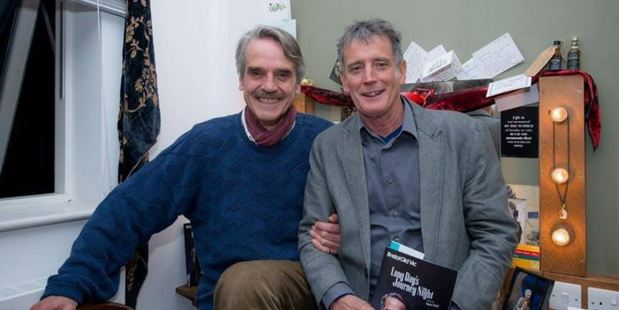 Gary File (right) meets his hero, Jeremy Irons. Photo / Facebook