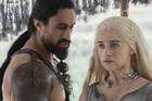 Joe Naufahu, who plays Kahl Moro on Game of Thrones, with Emilia Clarke, who plays Daenerys Targaryen.