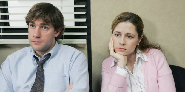 Meetings - the biggest waste of time? John Krasinski as Jim Halpert and Jenna Fischer as Pam Beesly in the US version of the workplace TV satire 'The Office'.