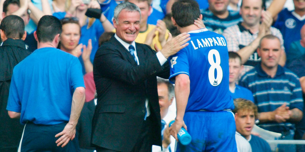 Claudio Ranieri embraces Frank Lampard as manager of Chelsea. Photo / Getty